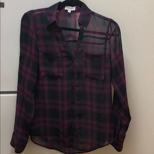 Express XS sheer plaid button down